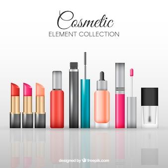 Colección de elementos de cosmética realistas