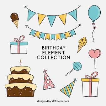 Colección de elementos de cumpleaños en estilo hecho a mano