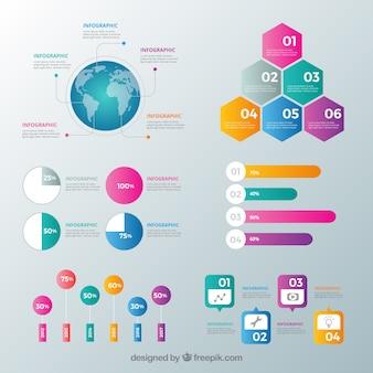 Colección de elementos de infografía con muchos colores