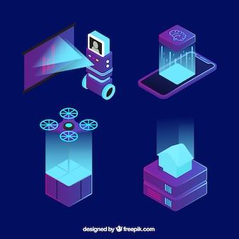 Colección de elementos de inteligencia artificial en estilo isométrico