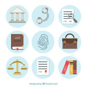 Colección de elementos de ley y justicia con diseño plano