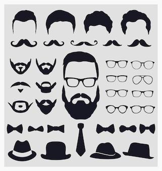 Colección de elementos de look hipster