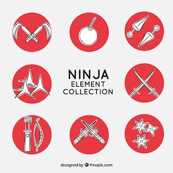 Colección de elementos de ninja dibujada a mano