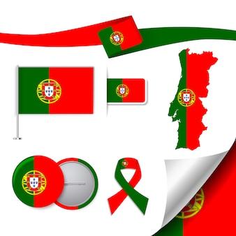 Colección de elementos de papelería con diseño de la bandera de portugal