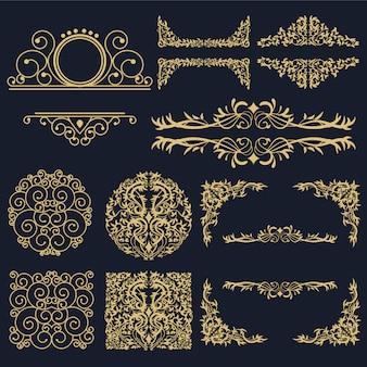 Colección de elementos dorados decorativos