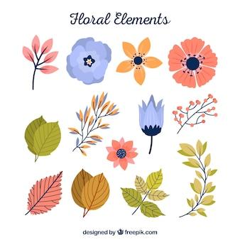 Colección de elementos florales con diseño plano