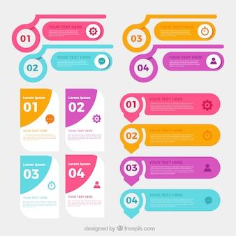 Colección de elementos infográficos con pasos