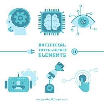 Colección de elementos inteligencia artificial en estilo plano
