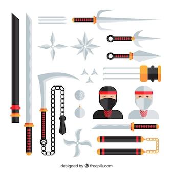 Colección de elementos ninja en estilo plano