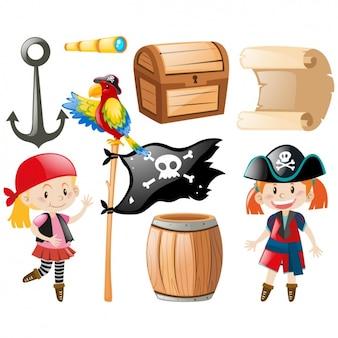 Colección de elementos pirata