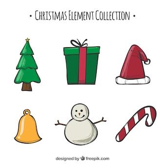 Colección de elementos planos de navidad