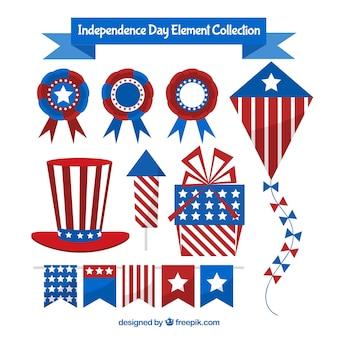 Colección de elementos planos del día de la independencia de ee.uu.