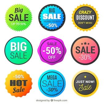 Colección de etiquetas circulares para rebajas