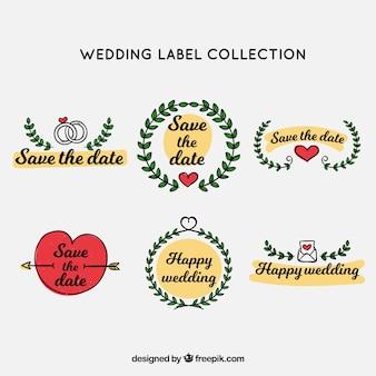 Colección de etiquetas de boda con ornamentos