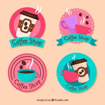 Colección de etiquetas de café con diseño plano