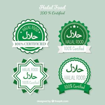 Colección de etiquetas de comida halal con diseño plano