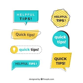 Colección de etiquetas de consejos con diseño plano