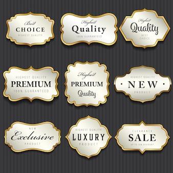 Colección de etiquetas de oro premium