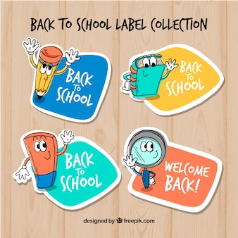 Colección de etiquetas de vuelta al colegio con elementos