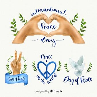 Colección de etiquetas del día de la paz de acuarela