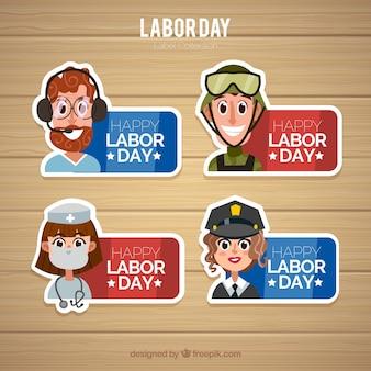 Colección de etiquetas del día del trabajo con diseño plano