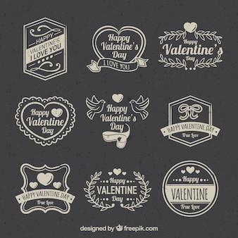 Colección de etiquetas/insignias vintage de san valentín