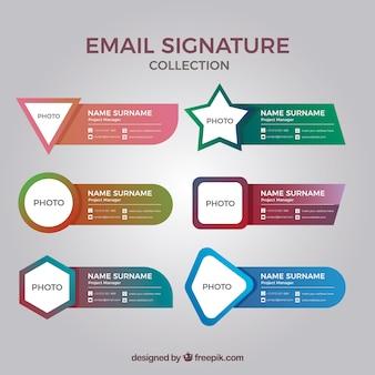 Colección de firma de correo electrónico en estilo degradado