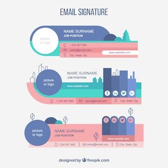 Colección de firma de correo electrónico en estilo plano