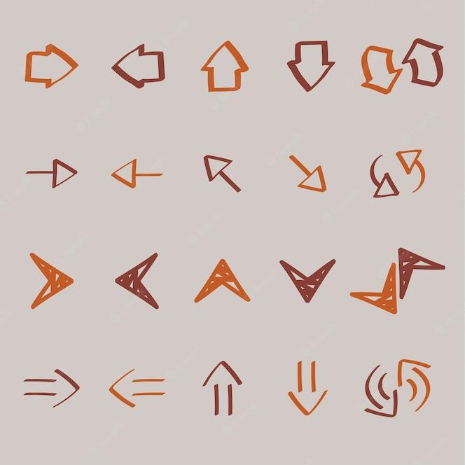 Colección de flecha doodles ilustración