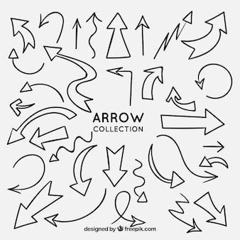 Colección de flechas para marcar en estilo hecho a mano