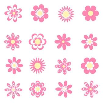 Colección de flores rosadas planas