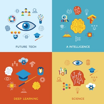 Colección de iconos de aprendizaje profundo e inteligencia artificial