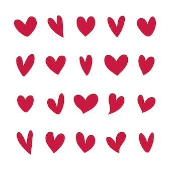 Colección de iconos de corazón ilustrados
