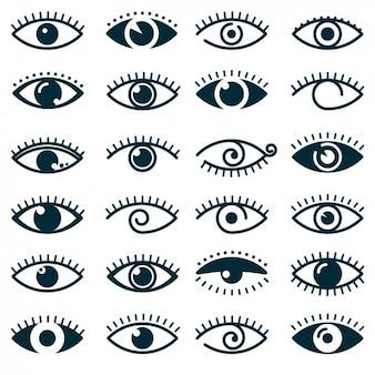 Colección de iconos de diferentes ojos