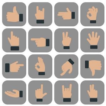 Colección de iconos de gestos de manos