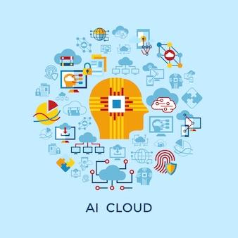Colección de iconos de inteligencia artificial en la nube