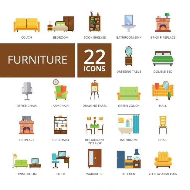 Colección de iconos de mobiliario