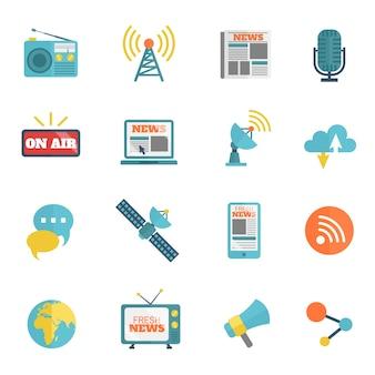 Colección de iconos de radio y televisión