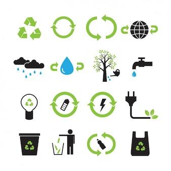 Colección de iconos de reciclaje