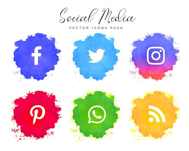 Colección de iconos de redes de acuarela redes sociales