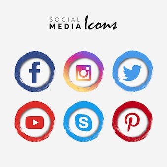 Colección de iconos de redes sociales abstractos modernos