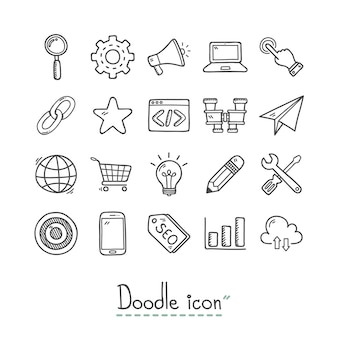 Colección de iconos dibujados a mano de negocios