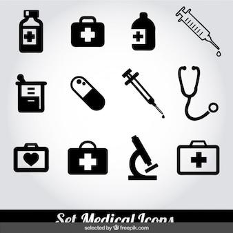 Colección de iconos médicos blancos y negros