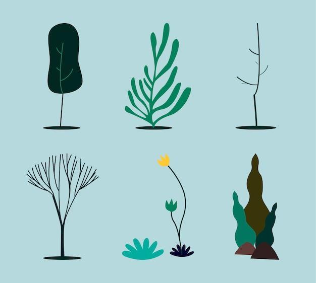Colección de ilustración de concepto de naturaleza verde