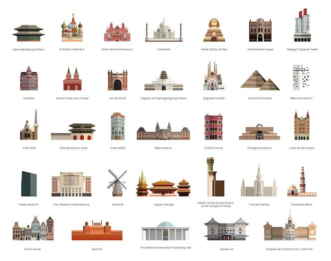 Colección de ilustración de monumentos turísticos famosos