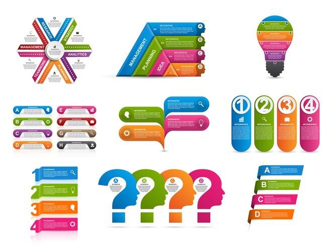 Colección de infografías coloridas