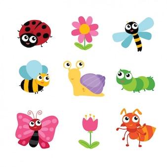Colección de insectos y flores