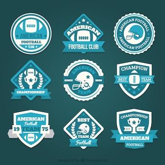 Colección de insignias de fútbol americano en estilo vintage