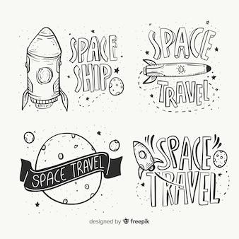 Colección de insignias del espacio dibujadas a mano