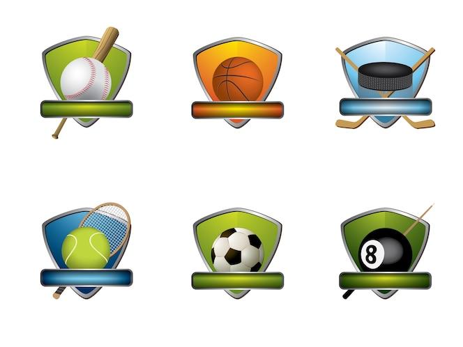 Colección de insignias e iconos deportivos